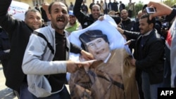 Demonstranti u Libiji cepaju poster sa likom predsednika Gadafija, 27. februar, 2011.