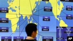 Chỉ số điểm chứng khoán thế giới tại sàn giao dịch Hong Kong (Ảnh tư liệu.)
