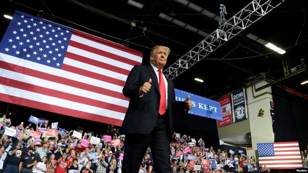 川普2018年9月29日到西维吉尼亚州出席一个集会(路透社)