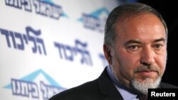 Israeli Foreign Minister Avigdor Lieberman speaks at a conference for young members of his Yisrael Beiteinu party in Tel Aviv December 13, 2012.