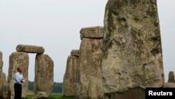 2014年9月5号美国总统奥巴马观光英国史前时期的巨大石柱群。