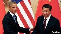 Tổng thống Mỹ Barack Obama và Chủ tịch Trung Quốc Tập Cận Bình tại Sảnh đường Nhân dân ở Bắc Kinh, ngày 12/11/2014.