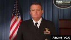 Juru bicara Pentagon Kapten Angkatan Laut Jeff Davis memberikan keterangan kepada media (foto: dok).