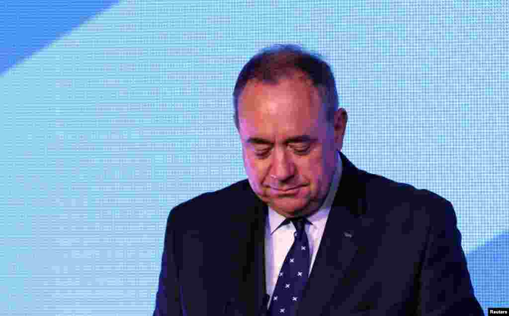 "Scotland's First Minister Alec Salmond concedes defeat in the independence referendum at the ""Yes"" Campaign headquarters in Edinburgh, Scotland, Sept. 19, 2014."