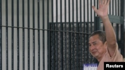 "Somyot Prueksakasemsuk, editor of ""Voice of the Oppressed,"" seen here on Jan. 23, 2013, was jailed for 10 years for insulting Thailand's royal family."