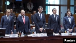 Para pemimpin Uni Eropa menghenangkan cipta bagi migran yang tewas dalam pertemuan darurat di Brussels, Belgia Kamis (23/4).