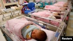 台湾台北一家妇产医院的新生儿室。(2011年10月3日)