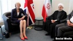 دیدار ترزا می نخست وزیر بریتانیا با حسن روحانی رئیس جمهوری ایران در حاشیه مجمع عمومی سازمان ملل متحد در نیویورک - شهریور ۱۳۹۶