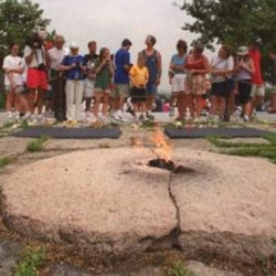 The eternal flame honoring President Kennedy at Arlington National Cemetery