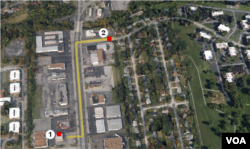 Ferguson, Missouri, map shows #1) Ferguson Market and Liquors and #2) Canfield Drive, approximate site where Michael Brown was shot.