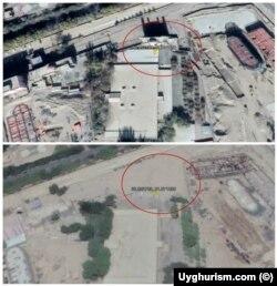 """Keriya Iydgoh masjidining """"Google"""" xaritasida buzilishdan avvalgi va keyingi ko'rinishi"""