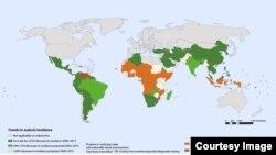 World Health Organization map displays progress in combating malaria between 2000 - 2012