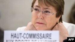La nouvelle Haut-Commissaire aux droits de l'homme, Michelle Bachelet, assiste à la journée d'ouverture du 39ème Conseil des droits de l'homme des Nations Unies à Genève le 10 septembre 2018.