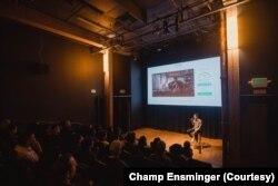 Champ Ensminger talked to the U.S. audience at a screening of Yai Nin, his short documentary about his Thai grandmother, Ninlawan Pinyo.