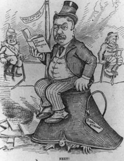 A cartoon shows Roosevelt trying to contain the coal strike as other problems await