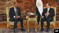 In this photo provided by Egypt's state news agency, MENA, Eritrean President Isaias Afwerki, left, meets with Egyptian President Abdel-Fattah el-Sissi at the presidential palace, in Cairo, Egypt, Jan. 9, 2018.