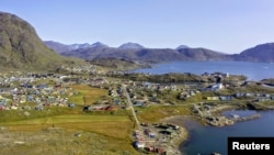 FILE - Aerial view of the town of Narsaq in southern Greenland, located 5 km from the site of a rare earth mine planned by Australian-listed company Greenland Minerals. (Greenland Minerals Ltd/Handout via REUTERS)