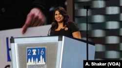 FILE - Astrid Silva, an undocumented immigrant known as a DREAMer, shared her family's story with the Democratic National Convention, in Philadelphia, July 25, 2016.