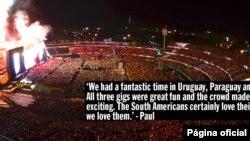 Esta imagen fue tomada desde la Torre de los Homenajes, durante el concierto en Uruguay. [Cortesía página oficial de Paul McCartney]