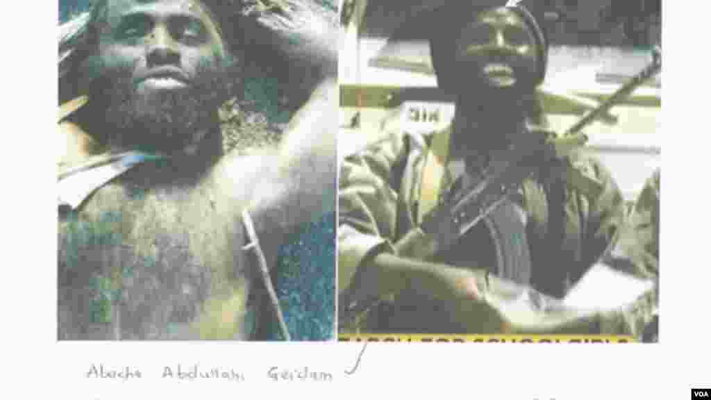 Photos comparing the dead body of alleged Boko Haram leader Mohammed Bashir with a photo of the militant leader taken from a Boko Haram video.