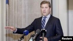 Iceland's Prime Minister Bjarni Benediktsson speaks during a press conference in Reykjavik, Iceland Sept. 15, 2017.