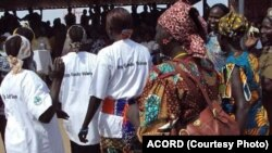 South Sudanese women take part in a 2010 event in Jonglei state organized by the ACORD NGO to raise awareness of gender-based violence. (Courtesy/ACORD)