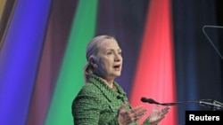 U.S. Secretary of State Hillary Clinton delivers a speech at the Conference on Internet Freedom, hosted by the Dutch Ministry of Foreign Affairs in The Hague, Netherlands, December 8, 2011.
