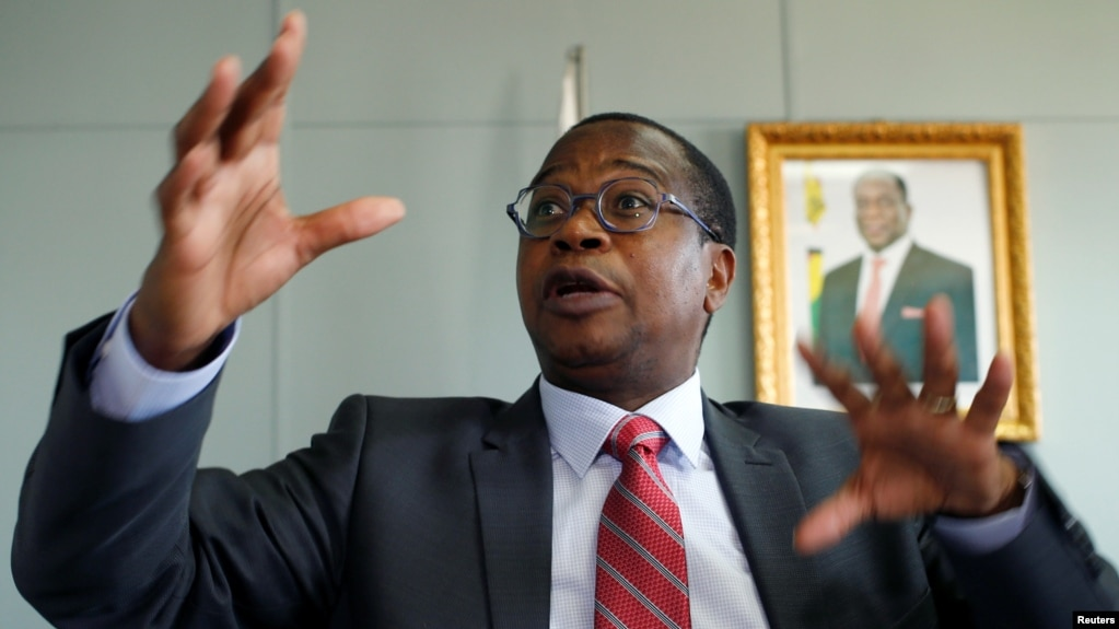 FILE: Finance Minister Mthuli Ncube gestures during a media briefing in Harare, Zimbabwe, Oct. 5, 2018.