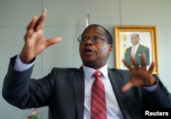 Finance Minister Mthuli Ncube gestures during a media briefing in Harare, Zimbabwe, October 5, 2018