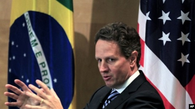 U.S. Secretary of the Treasury Timothy Geithner speaks during a meeting with Brazilian students at Getulio Vargas Foundation in Sao Paulo, February 7, 2011