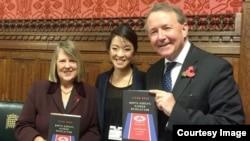 백지은 전 하버드대 벨퍼센터 연구원이 영국 의회에서 자신의 저서 '북한의 숨겨진 혁명- North Korea's Hidden Revolution' 발표회를 가졌다. 사진제공 = 백지은.