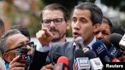 El presidente interino participa en la manifestación de transportistas venezolanos convocada el miércoles 20 de febrero de 2019.