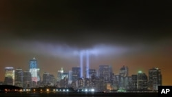 """The """"Tribute in Lights"""" in New York on September 11, 2011, marking the tenth anniversary of the destruction of the Twin Towers of the World Trade Center"""