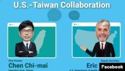 美国在台协会在脸上预告美国卫生部副部长哈根与台湾行政院副院长2020年5月8日参加智库战略与国际研究中心线上讨论活动(美国在台协会脸书)