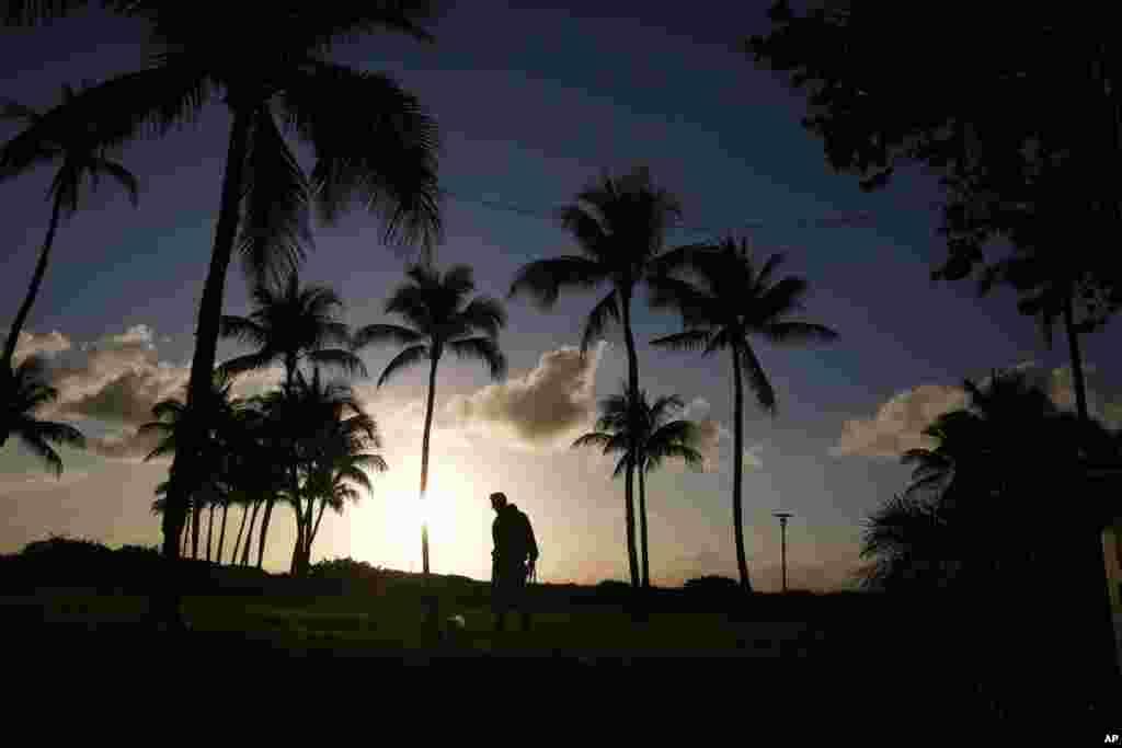 فردی در حال قدم زدن با سگش در ساحل خلوت میامی، فلوریدا