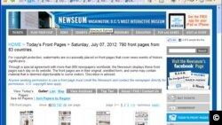 The website displays the front pages of eight hundred thirty-six newspapers from ninety-three countries