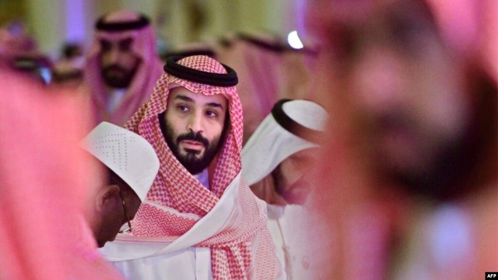 Thái từ Mohammed bin Salman tới hội nghị Sáng kiến Đầu tư Tương lại tại thủ đô Riyadh của Ả Rập Xê-út hôm 24/10. Tổng thống Mỹ Donald Trump nói vị thái tử này phải chịu trách nhiệm về vụ giết hại nhà báo Jamal Khashoggi.
