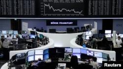 지난 16일 독일 프랑크프루트의 증권 시장. (자료사진)