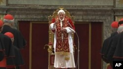 In this image taken from a video, Pope Benedict XVI delivers his final greetings to the assembly of cardinals at the Vatican, February 28, 2013.