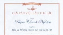 Giấy chứng nhận Giải Văn Việt cho Phạm Thanh Nghiên