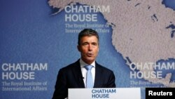 Tổng thư ký NATO Anders Fogh Rasmussen phát biểu tại London, ngày 19/6/2014.