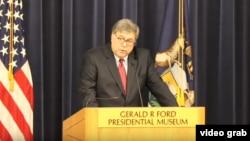 司法部长威廉·巴尔7月16日在福特总统博物馆发表讲话