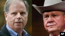 Les deux candidats en Alabama, le démocrate Doug Jones à gauche et le républicain Roy Moore, soutenu par le président américain, à droite.