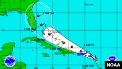 Trayectoria prevista por el Centro Nacional de Hurcanes para la tormenta tropical Erika.