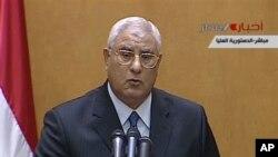 Mısır'ın geçici cumnhurbaşkanı Adli Mansur yemin ederek göreve başlarken