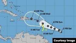 Depresión Tropical 15 que si se fortalece se convertiría en huracán María. Cortesía Centro Nacional de Huracanes