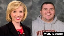 """Jurnalist Alison Parker va operator Adam Vard, Virjiniyadagi """"WDBJ7"""" telestansiyasi xodimlari."""