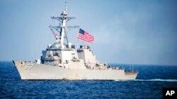 Kapal perusak AL Amerika, USS Stethem berlayar di Laut China Selatan (foto: ilustrasi).