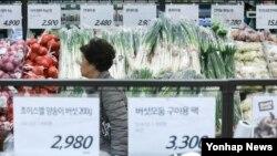 24일 서울 롯데마트 서울역점 고객이 김장 재료를 살펴보고 있다. 한국농수산식품유통공사(aT)에 따르면 21일 기준 배추 1kg 당 도매가격은 880원대로 최근 5년 평균가격인 519원보다 약 70% 비싸다.