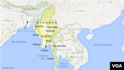Myanmar, featuring the cities of Yangon, Mandalay, Mawlamyine, Bago, Pathein, Monywa, Sittwe, Meiktila, Myeik, and Naypyitaw